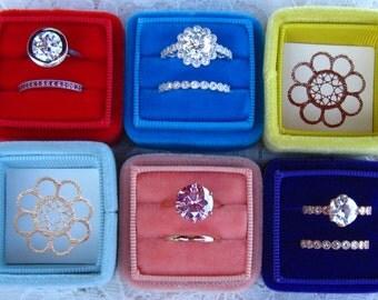 Julia's Wedding Ring Box, Handmade Velvet Ring Box for Your Engagement Ring and Wedding Band