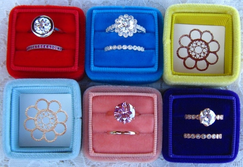 Julia 39 s wedding ring box handmade velvet ring box for for Cute engagement ring boxes