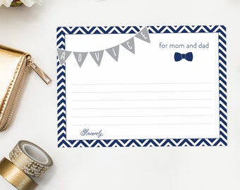 Little Man Baby Shower Game, Baby Shower Advice Card, Mom Dad Mommy Bow Tie PRINTABLE, Boy Baby Shower, Chevron, Grey and Navy bowties