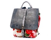 Rucksack Flowered Canvas and leather Backpack.. Small Backpack. Day Pack.