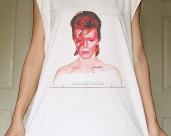 David Bowie White Organic Cotton Tank Top Tunic Vintage Look One Size
