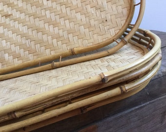 4 Bamboo and Rattan Tray Set