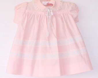 Vintage baby dress.soft pink with white lace trim around the collar and a satin bow, Patricia Ann Dress for 18 Mo