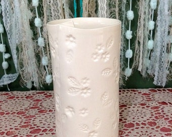 Handmade Ceramic Vase, Slab Built, White Earthenware, Floral Design.