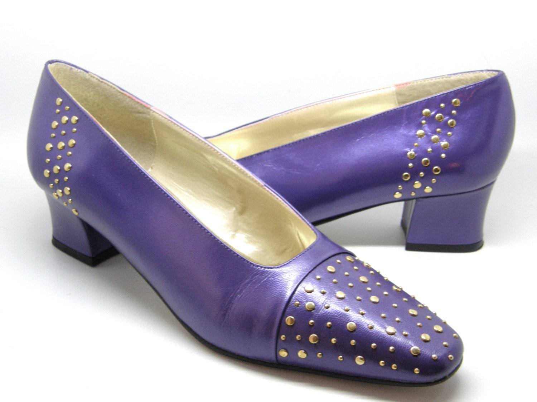 purple leather pumps j renee gold stud dress shoes chunky