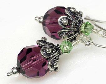 Amethyst Peridot Crystal Earrings, Two Toned, Purple, Green, Elegant, Sparkly Earrings, Sterling Silver, Elandra Designs