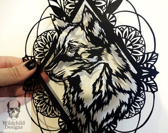 Wolf and Native Indian Border - Commercial & Personal Use DIY Paper Cut Template Tattoo Style Wildchild Designs Gothic Canis Lupus Totem