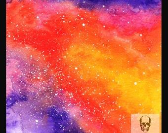 Galaxy Nebula - Original Hand Painted Space Sky Watercolour Galaxy Painting Stars by Wildchild Designs Astonomy Mystical Magic