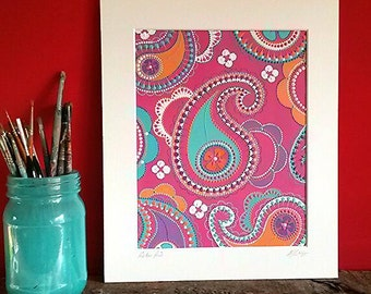 Original acrylics on watercolour paper. Mounted and signed. Pink Paisley.