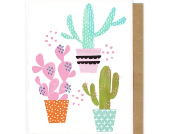 Cactus Note Card Set-Blank Notecards-Mixed Media Card-Eight Notecards