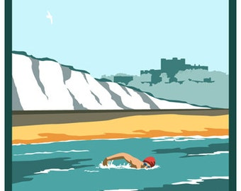 CHANNEL SWIM. Art print poster of Dover Cross Channel Swim. English Channel from Shakespeare Beach. A4, A3, A2