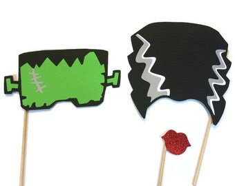 Halloween Photo Booth Props - Frankenstein and Bride - Photo Booth Props