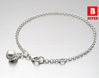 925 Sterling Silver Baby Bell Anklet, Rollo Chain, Bell Anklet (Code : YR4)