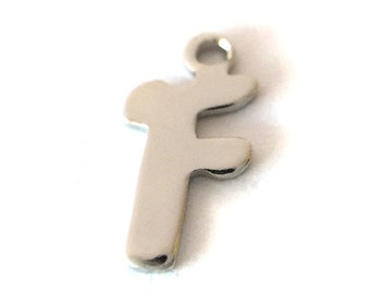 """5x Letter """"F"""" Silver Plated Initial Charms - M121-F"""