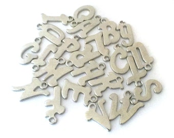 23x Silver Plated Initial Charms - M121