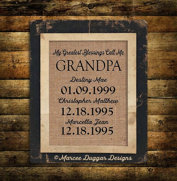 Christmas Gift for Grandpa | Papa  | Personalized Gift For Grandpa | My Greatest Blessings | Burlap Print | 228