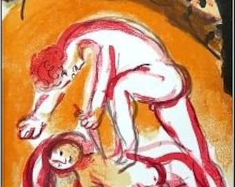 MARC CHAGALL - 'Cain and Abel' - limited edition vintage lithograph - c1960 (Mourlot/Teriade, Paris)