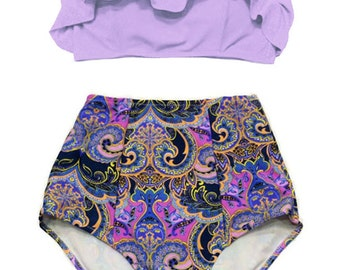 Lavender Ruffle Top and Flora Graphic High Waist Waisted Highwaisted Bottom Vintage Bikini Swimsuit Swim suit Maillot de bain Badeanzug S M