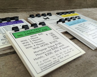3 monopoly notebook property cards - up-cycled monopoly cards - recycled monopoly - repurposed monopoly - upcycled gameboards - altered note