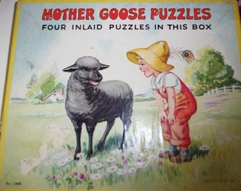 Mother Goose Puzzles, Set Of Four Inlaid Puzzles, Copyright 1957, Sifo Co., Simple Simon, Miss Muffet, Wee Willie Winkie, Jack Spratt
