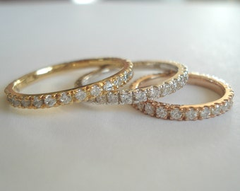 Diamond Eternity wedding band or stacking rings,comfort fit, pave setting,14 K. white,yellow or pink(rose) gold hand made in U.S.