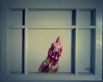 Painted Chicken on Window