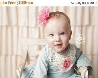 ON SALE Pink Flower Headband, Pink Headband, Flower Headband, Baby Girl Headband, Baby Headband, Photo Prop, Mae Headband, Sister Set
