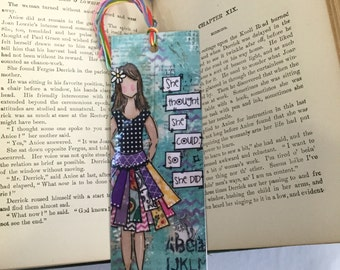 Inspirational Girl Bookmark, she thought she could, so she did