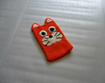 crochet kindle cover, cat kindle cover, device cover, ginger cat, tablet cover, e reader case, electronic case