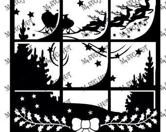 Christmas window scene vinyl template