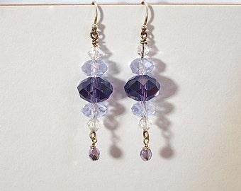 Purple and lavender crystal earrings,                              drop earrings, dangle earrings, crystal, lilac, purple earrings, handmade