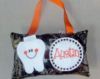 Camouflage Tooth Fairy Pillow // Mossy Oak Camo Tooth Fairy Pillow