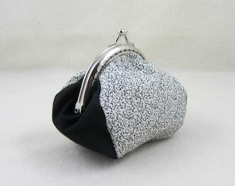 Black and white coin purse, cotton coin purse, metal framed purse, coin pouch, kiss lock coin purse