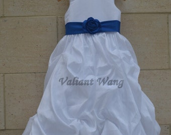 White Taffeta Ruffle Flower Girl Dress Bridal Party Dress Blue Sash/Flower