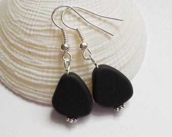 Black Beach Glass Earrings, Black Seaglass Earrings, Black Seaglass Jewelry, Black Sea Glass Earrings. Sterling Silver Option. FREE SHIPPING