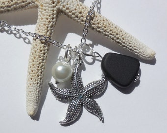 Jet Black Sea Glass Necklace, Charm necklace, Pearl, Starfish Necklace, bridesmaid necklace, beach wedding. FREE SHIPPING within the U.S.