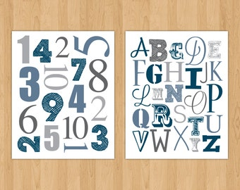 ABC & 123 Instant Download Printable Nursery Art - Letters and Numbers - 16 x 20 - Navy and Gray