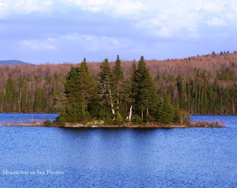 Peaceful lake, New Hampshire, 5x7 landscape photo, New England, rustic home decor, First Connecticut, woodland art print, North Country