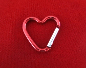 "BULK 15pc ""heart carabiner"" red clip-ons (BC775 -red)"