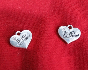 "5pc ""Happy retirement"" charms in antique silver style (BC777)"