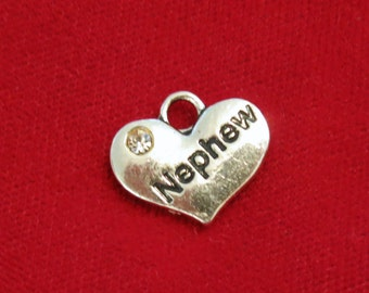 "BULK 15pc ""Nephew"" charms in antique silver style (BC783B)"