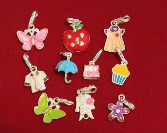 "10pc clip-on ""collection"" charms in antique silver style (BC787)"