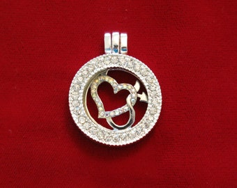 "1pc ""heart"" rhinestone locket charm (LC7)"