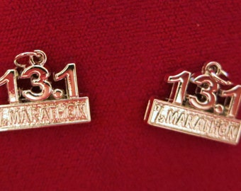 "5pc ""half marathon 13.1"" charms in antique silver style (BC914)"