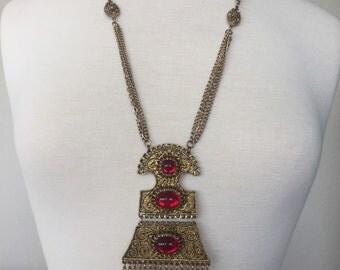 Etruscan Faux Garnet Cabochon Tassel Necklace