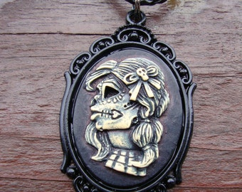 Necklace, Day of the Dead, Lolita, cameo pendant, cameo necklace, resin cameo, 40x30mm cameo, Gothic, Halloween
