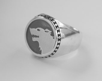 Unique Angeline Quinn Sterling Silver Mens Wolf Ring with Oxidised Finish
