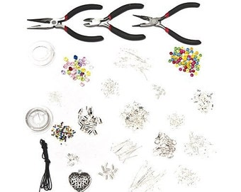 1000 Piece Deluxe Jewellery Making Starter Kit With Beads, Pliers, Cord, Silver Plated Accessories Set [1601]