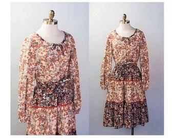1970s Harvest Palette Floral Cotton Peasant Dress // Size Medium Large