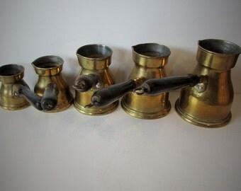 Unusual Rare Beautiful Vintage Brass Turkish Coffee Set (5) With Wooden Handles And Tin Linned /MEMsArtShop.